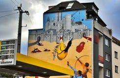 Grafittis na água de Colônia, Alemanha Fotografia de Stock Royalty Free