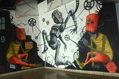 Grafittis na estação de ônibus central em Tel Aviv Fotos de Stock Royalty Free