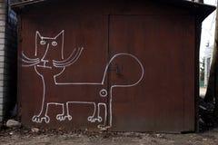 Grafittis na garagem Fotografia de Stock Royalty Free