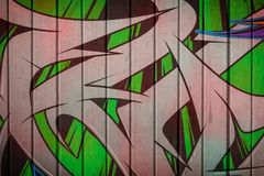 Grafittis na parede de madeira Fotos de Stock Royalty Free