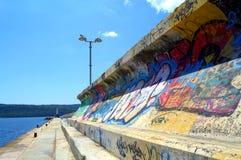 Grafittis no quebra-mar Imagem de Stock