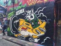 Grafittis - panda que voa um avião Fotografia de Stock Royalty Free