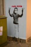 Grafittis rudes das crianças, Londres Imagem de Stock