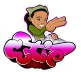 Grafittis urbanos da menina de Cutie com bgirl Imagens de Stock