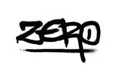 Grafittis zero etiquetas no preto sobre o branco Fotografia de Stock