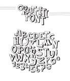 Grafittistilsort Abc-bokstäver från A till Z och nummer från 0 till 9, isolerat på vit bakgrund hand dragit alfabet 3d Svart dime Royaltyfri Foto