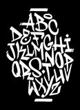 Grafittistilsortsalfabet Arkivbild
