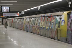 Grafittitunnelbanadrev Arkivfoton