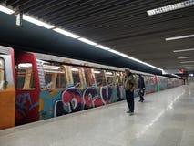 Grafittitunnelbanadrev Royaltyfri Foto