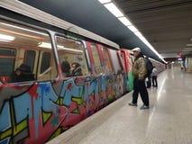 Grafittitunnelbanadrev Arkivbild