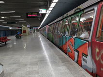 Grafittitunnelbanadrev Royaltyfri Bild