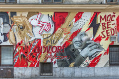 Grafittivägg Ljubljana arkivfoton