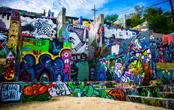 Grafittivägg Austin Texas Arkivfoton