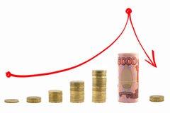 Grafresning och fallande pengar Röd pil upp och ner Arkivbild