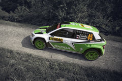 Grafschaft, Germany - August 22: Czech driver Jan Kopecky and his codriver Pavel Dresler in a Skoda Fabia R5 race in ADAC RALLYE. DEUTSCHLAND, on August 22 Stock Image