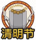 Grafsteen met Bloemen en Wierook om Qingming-Festival, Vectorillustratie te vieren stock illustratie