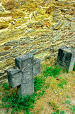 Grafstenen in Duits kasteel Stock Foto's