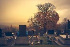 Grafstenen in een begraafplaats Royalty-vrije Stock Afbeelding