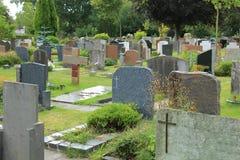 Grafstenen op een begraafplaats Stock Afbeelding