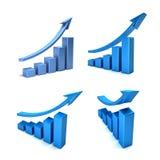 grafstänger för finans 3D Royaltyfri Fotografi