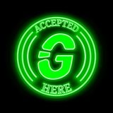 Graft GRFT accepted here sign. Graft GRFT green  neon cryptocurrency symbol in round frame with text `Accepted here`. Vector illustration isolated on black Stock Photos
