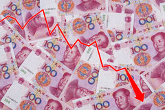 Graph showing the decline of the Chinese Yuan Royalty Free Stock Images