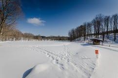 Grafton池塘越野滑雪足迹-佛蒙特 库存图片