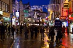 Grafton街道在晚上。 都伯林。 爱尔兰 库存照片