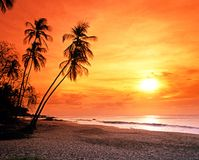 Grafton beach at sunset, Tobago. Stock Photo