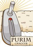 Gragger over Ancient Scroll of Esther for Purim Celebration, Vector Illustration. Poster with metallic gragger over  a ancient scroll of Esther with the name Stock Photo