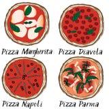 Graghic pizza vastgestelde hand getrokken krabbel Royalty-vrije Stock Foto's