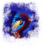 Gragon bleu rouge d'ANG avec l'incendie en nuages Photos stock