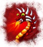 Gragon rosso con fuoco Fotografia Stock Libera da Diritti