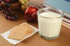 Graham crackers and milk after school Royalty Free Stock Image