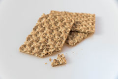 Graham Crackers. Three fresh Graham Crackers biten royalty free stock images