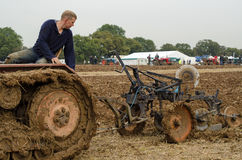 Graham Spark, Ploughman. BASINGSTOKE, UK - OCTOBER 12, 2014: Graham Spark taking part  in the second day of the British National Ploughing Championships Stock Photos