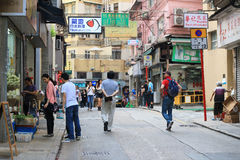 Graham Street in downtown Hong Kong Royalty Free Stock Images