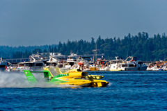 Graham Unlimited Hydro Race Boat. Unlimited hydro race boat along the log boom at Seafair on lake washington in seattle wa Stock Photography