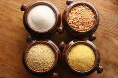 Grain. Different types of grain in the pots Stock Images