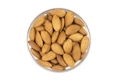 Grain almonds in a glass cup Royalty Free Stock Photos