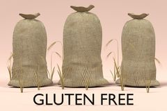 Grain bags with gluten free sign Royalty Free Stock Photos