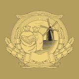 Grain bags mill on the coat of arms,  image vector illustration
