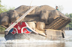 Grain Barge, Mekong Delta Stock Photo