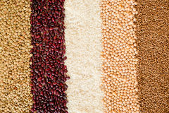 Grain and beans background. top view Stock Photo