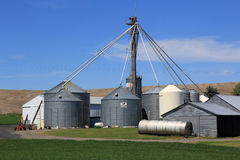 Grain Bins Stock Photo