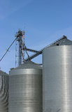 Grain Bins. In Iowa with blue sky stock photos