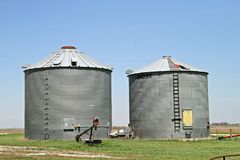 Grain Bins. In the Midwest Royalty Free Stock Photo