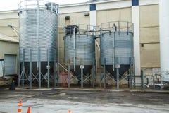 Grain Bins at Brewery Stock Image