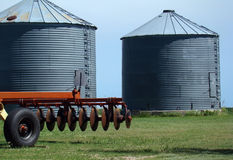 Grain Bins and Disc Royalty Free Stock Images