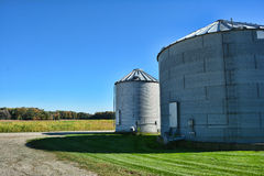 Grain Bins and Fall Color Royalty Free Stock Photo